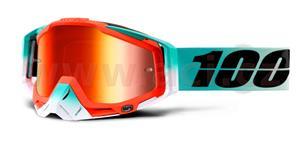 brýle Racecraft Cubica, 100% - USA (červené chrom plexi + čiré plexi + chránič nosu +20 strhávaček)
