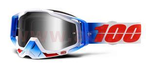 brýle Racecraft Fourth, 100% - USA (stříbrné chrom plexi + čiré plexi + chránič nosu +20 strhávaček)