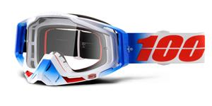 brýle Racecraft Fourth, 100% - USA (čiré plexi + chránič nosu +10 strhávaček)