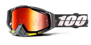 brýle Racecraft Fortis, 100% - USA (červené chrom plexi + čiré plexi + chránič nosu +20 strhávaček)