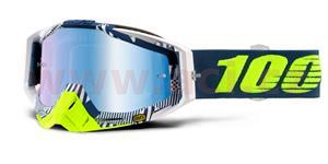 brýle Racecraft Eclipse, 100% - USA (modré chrom plexi + čiré plexi + chránič nosu +20 strhávaček)