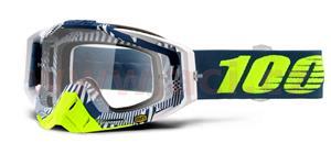 brýle Racecraft Eclipse, 100% - USA (čiré plexi + chránič nosu +10 strhávaček)