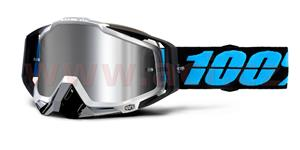 okuliare Racecraft PLUS Daffed 100% Injected chrom plexi stieborné + čiré plexi + Chránič nosu +20 strhávaček