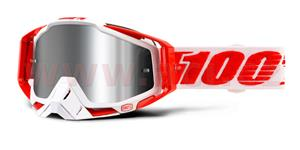 okuliare Racecraft PLUS Bilal 100% Injected chrom plexi stieborné + čiré plexi + Chránič nosu +20 strhávaček