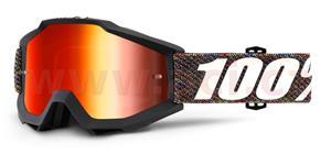 okuliare Accuri Krick 100% červené chrom plexi + čiré plexi s čepy pre slídy
