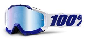 okuliare Accuri Calgary 100% modré chrom plexi + čiré plexi s čepy pre slídy