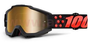 okuliare Accuri Gernica 100% zlaté chrom plexi + čiré plexi s čepy pre slídy
