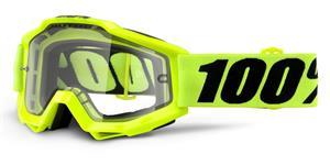 okuliare Accuri Enduro Fluo Yellow 100% kouřové dual plexi s čepy pre slídy