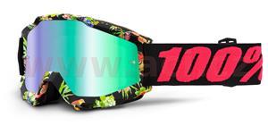 okuliare Accuri Chapter 100% zelené chrom plexi + čiré plexi s čepy pre slídy