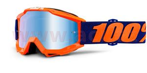 okuliare Accuri Origami 100% DETSKÉ modré chrom plexi s čepy pre slídy