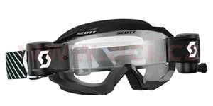 okuliare HUSTLE MX WFS SCOTT čierna/biela čiré plexi s Roll Off