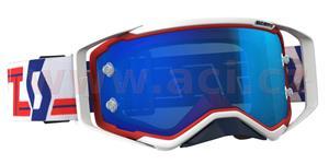 okuliare preSPECT SCOTT červené/biele modré chrom plexi s čepy pre slídy