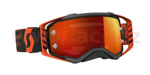 okuliare preSPECT SCOTT čierne/oranžové oranžové chrom plexi s čepy pre slídy