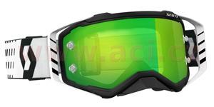 okuliare preSPECT SCOTT čierne/biele zelené chrom plexi s čepy pre slídy