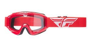 okuliare Focus FLY RACING červené čiré plexi bez čepů pre slídy