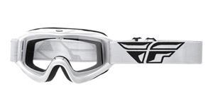 okuliare Focus FLY RACING biele čiré plexi bez čepů pre slídy