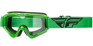 okuliare Focus FLY RACING zelené čiré plexi bez čepů pre slídy