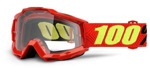 okuliare Accuri OTG Saarinen 100% - červená čiré plexi s čepy pre slídy