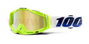 brýle Racecraft GP21, 100% - USA (zlaté chrom plexi + čiré plexi + chránič nosu +20 strhávaček)