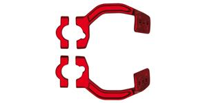 kovový montážní kit na řídítka krytů páček FLX / VERTIGO / DUAL EVO, RTECH - Itálie (červený, pár)