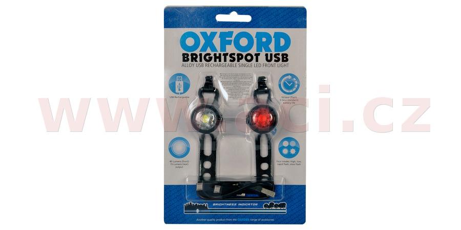 sada světel na kolo BRIGHT SPOT, OXFORD (dobíjení pomocí USB, LED, světelný tok 20/5 lm)