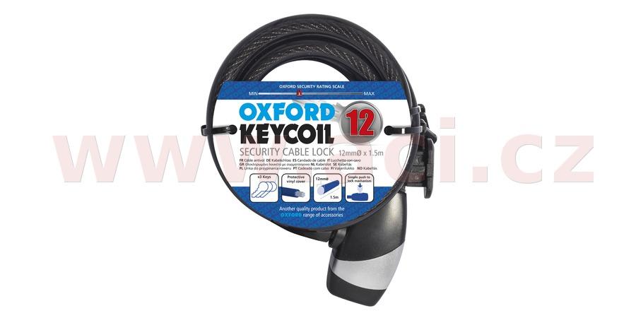 zámek KEY COIL12, OXFORD (délka 1,5 m, průměr lanka 12 mm)