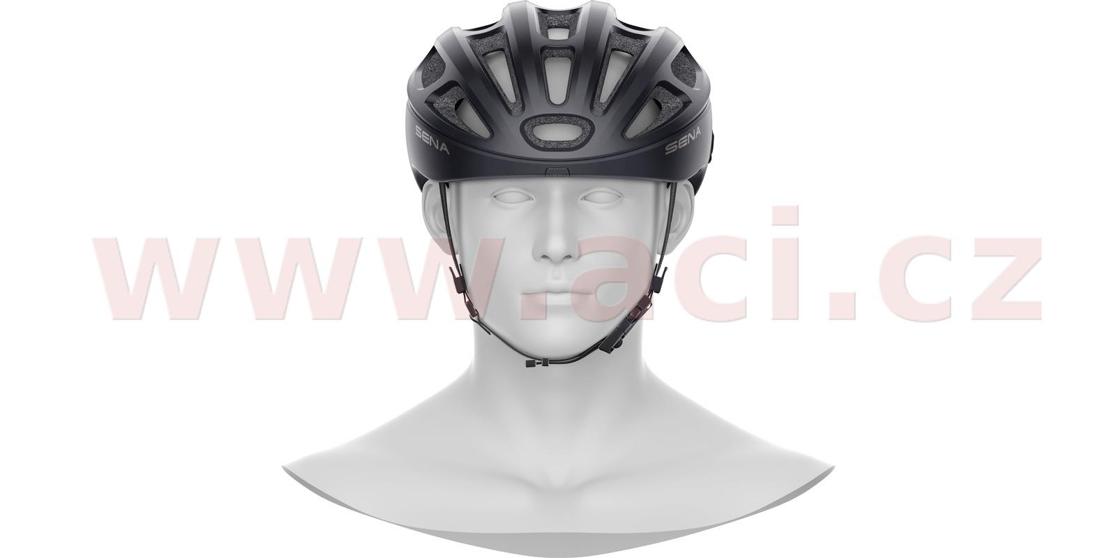 cyklo přilba s headsetem R1, SENA (černá, vel. M)
