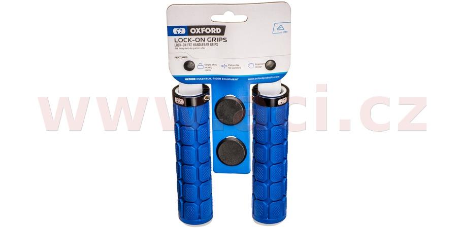 gripy LOCK-ON se šroubovacími objímkami a větší tl. úchopu, OXFORD (tmavě modré, délka 130 mm, 1 pár)