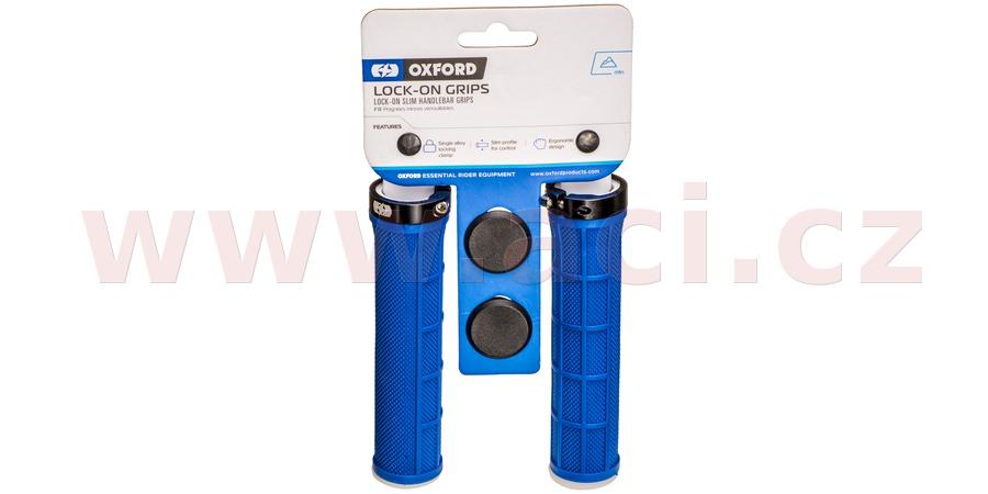 gripy LOCK-ON se šroubovacími objímkami a menší tl. úchopu, OXFORD (tmavě modré, délka 130 mm, 1 pár)