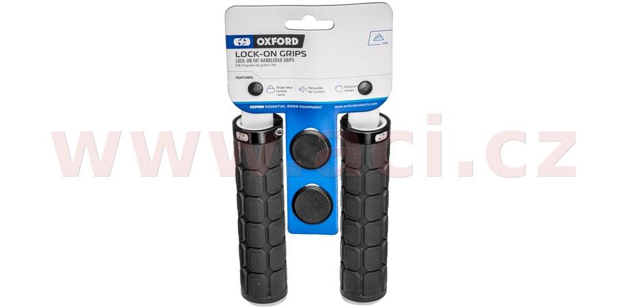 gripy LOCK-ON se šroubovacími objímkami a větší tl. úchopu, OXFORD (černé, délka 130 mm, 1 pár)