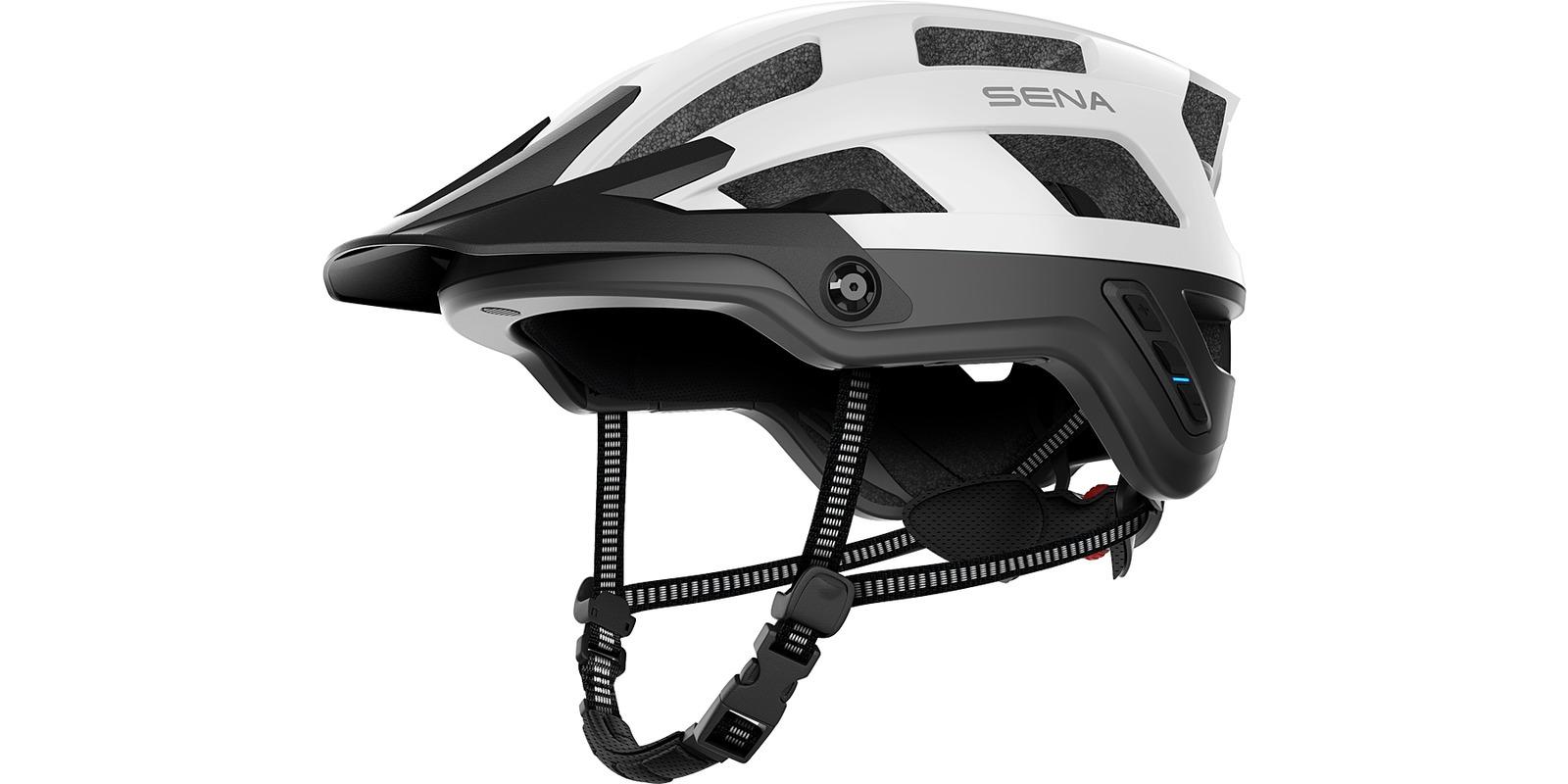 cyklo přilba s headsetem M1, SENA (matná bílá, vel. L)