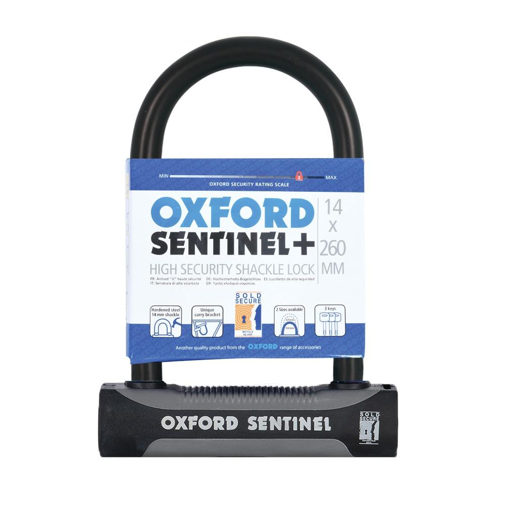 zámek U profil SENTINEL SHACKLE, OXFORD (černý/šedý, výška čepu 260 mm, průměr čepu 14 mm)
