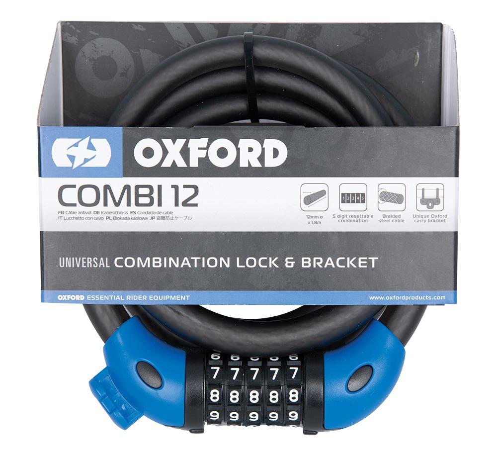 zámek lankový COMBI12, OXFORD (kouřový, délka 1,8 m, průměr lanka 12 mm)