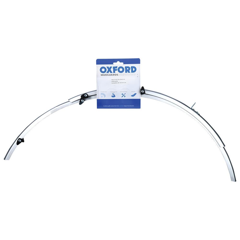 sada blatníků přední/zadní pro použití na kola/pneu 700C, OXFORD (stříbrné, šírka 31 mm, vč. kotevních vzpěr)